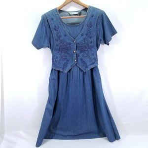Vintage Jane Ashley Embroidered Denim Dress